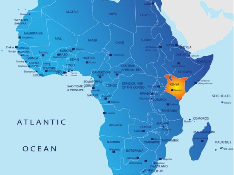 Kenya in Africa map